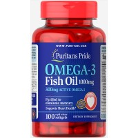 Omega-3 Fish Oil 1000 mg (300 mg Active Omega-3) 100 Softgels