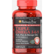 Maximum Strength Triple Omega 3-6-9 Fish, Flax & Borage Oils 120 Softgels