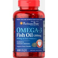 Omega-3 Fish Oil 1200 mg (360 mg Active Omega-3) 100 Softgels