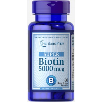 Biotin 5000 mcg 60 Capsules | B Vitamins Supplements | Puritans Pride