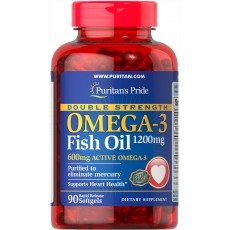 Double Strength Omega-3 Fish Oil 1200 mg/600 mg Omega-3 90 Softgels