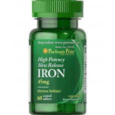 Puritan's Pride High Potency Slow Release Iron 45 mg- 60kps