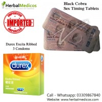 Pack of 2 Black Cobra Tablets and Excita Ribbed Condoms