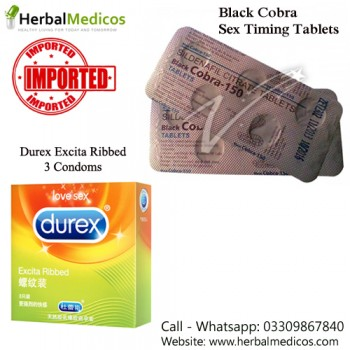 Pack of 1 Black Cobra Tablets and Excita Ribbed Condoms