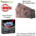 Pack of 2 Black Cobra Tablets and Durex Performa Condoms