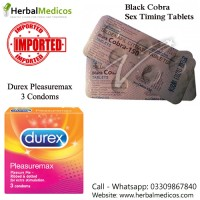 Pack of 2 Black Cobra Tablets and Durex Pleasuremax Condoms