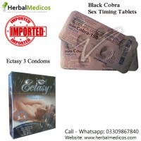 Pack of 1 Black Cobra Tablets and Ectasy Condoms