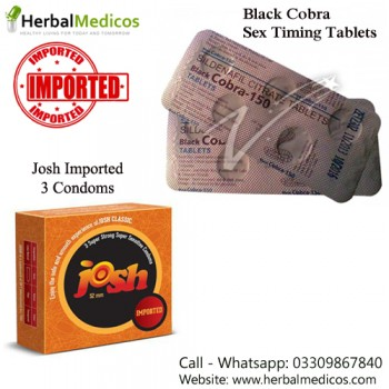 Pack of 1 Black Cobra Tablets and Josh Imported Condoms