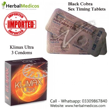 Pack of 1 Black Cobra Tablets and Klimax Ultra Condoms