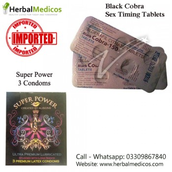 Pack of 1 Black Cobra Tablets and Super Power Condoms