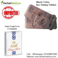 Pack of 2 Black Cobra Tablets and Amor Long Love Condoms