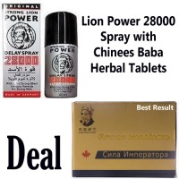 Lion Power 25000 Delay Spray with Chinees Baba Herbal Tablets