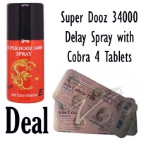 Super Dooz 34000 Delay Spray with Penegra 100mg 4 Tablets