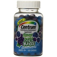Centrum Flavor Burst Kids Chews, Mixed Fruit, 120 Count (Pack Of 3) By Herbal Medicos