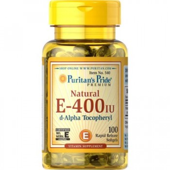 Puritan's Pride Vitamin E-400 iu D-Alpha Tocophery 100% Natural-100 Softgels